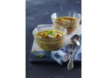 Potato Soup with Poached Eggs