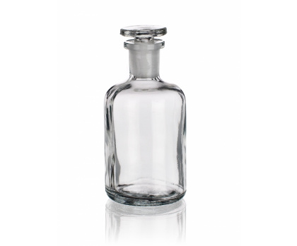 BOTTLE REAGENT, NARROW MOUTH WITH PRECISE GROUND NECK AND GLASS STOPPER