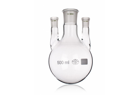 FLASK, DISTILLING ROUND BOTTOM, TWO LATERAL NECKS