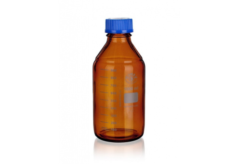 REAGENT BOTTLE brown, with blue PP cap and blue PP  outlet ring