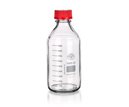 REAGENT BOTTLE  WITH GL45 with red PBT cap,  with red ETFE outlet ring and silicon gasket PTFE