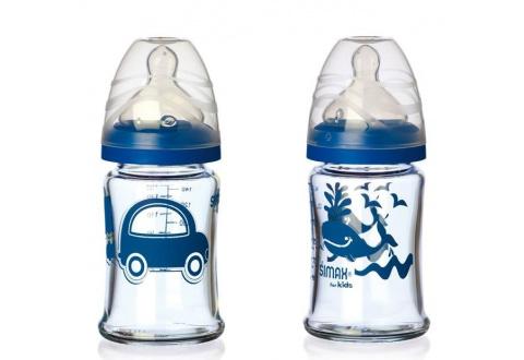 SIMAX Souprava  kojeneckých lahví, 150 ml - modrá