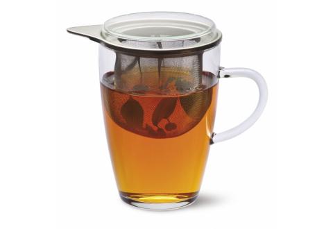 TEA FOR ONE - TEEGLAS LYRA MIT METALLSIEB UND GLASDECKEL