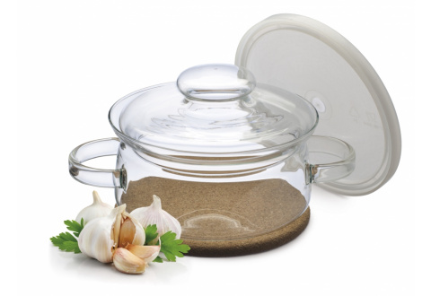 GOURMET POT WITH CORK COASTER - GLASS AND PLASTIC COVER