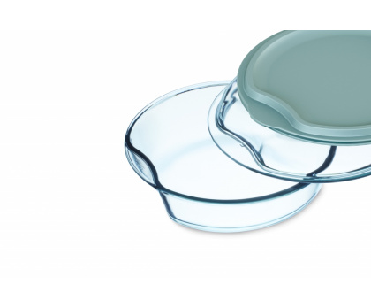 ROUND CASSEROLE WITH GLASS AND PLASTIC LID
