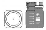 LABORFLASCHE MIT GL80 mit PP blauer Kappe und PP Ring