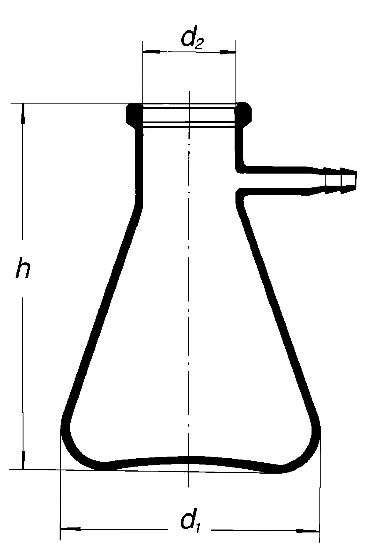 filtering flask with glass side hose
